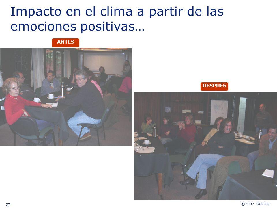 ©2007 Deloitte 27 Impacto en el clima a partir de las emociones positivas… DESPUÉS ANTES