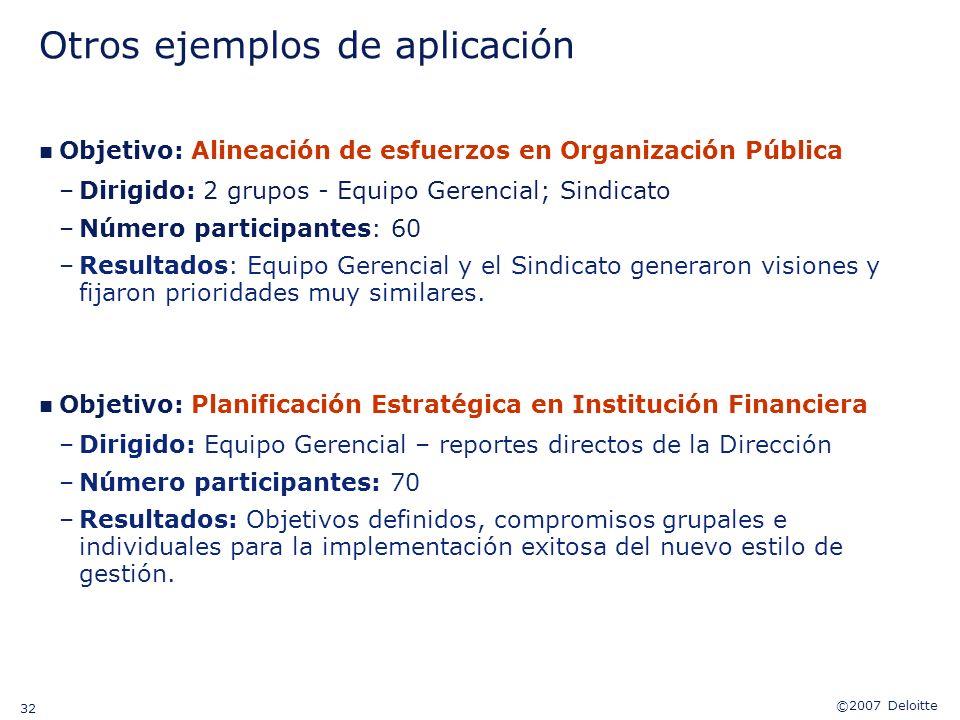 ©2007 Deloitte 32 Otros ejemplos de aplicación n Objetivo: Alineación de esfuerzos en Organización Pública –Dirigido: 2 grupos - Equipo Gerencial; Sin