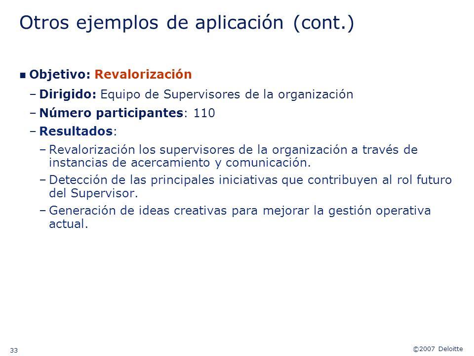 ©2007 Deloitte 33 Otros ejemplos de aplicación (cont.) n Objetivo: Revalorización –Dirigido: Equipo de Supervisores de la organización –Número partici