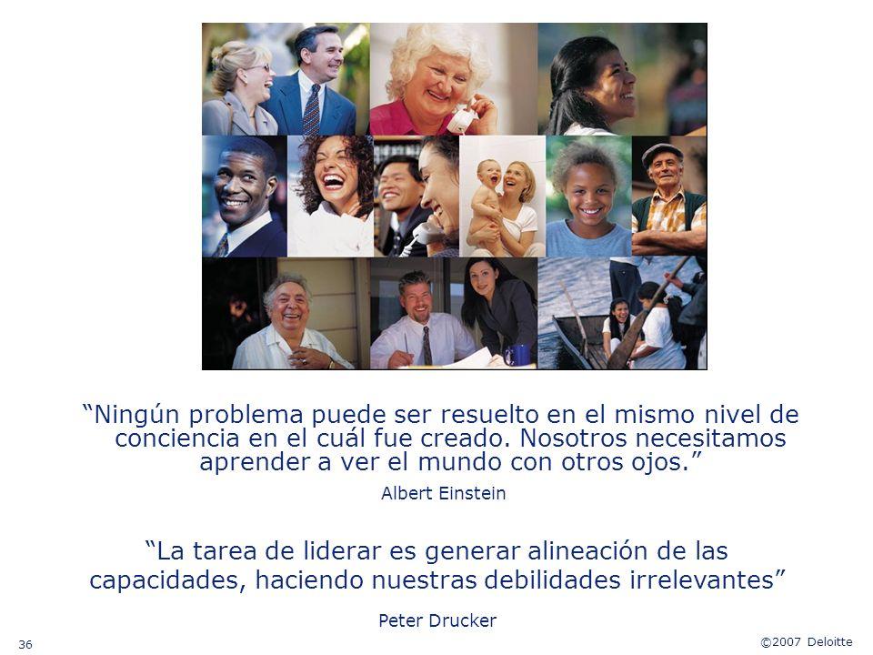©2007 Deloitte 36 Ningún problema puede ser resuelto en el mismo nivel de conciencia en el cuál fue creado. Nosotros necesitamos aprender a ver el mun