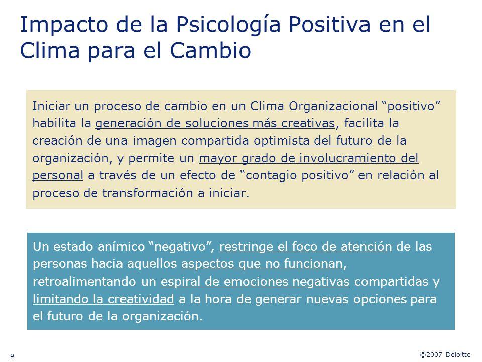 ©2007 Deloitte 9 Impacto de la Psicología Positiva en el Clima para el Cambio Iniciar un proceso de cambio en un Clima Organizacional positivo habilit