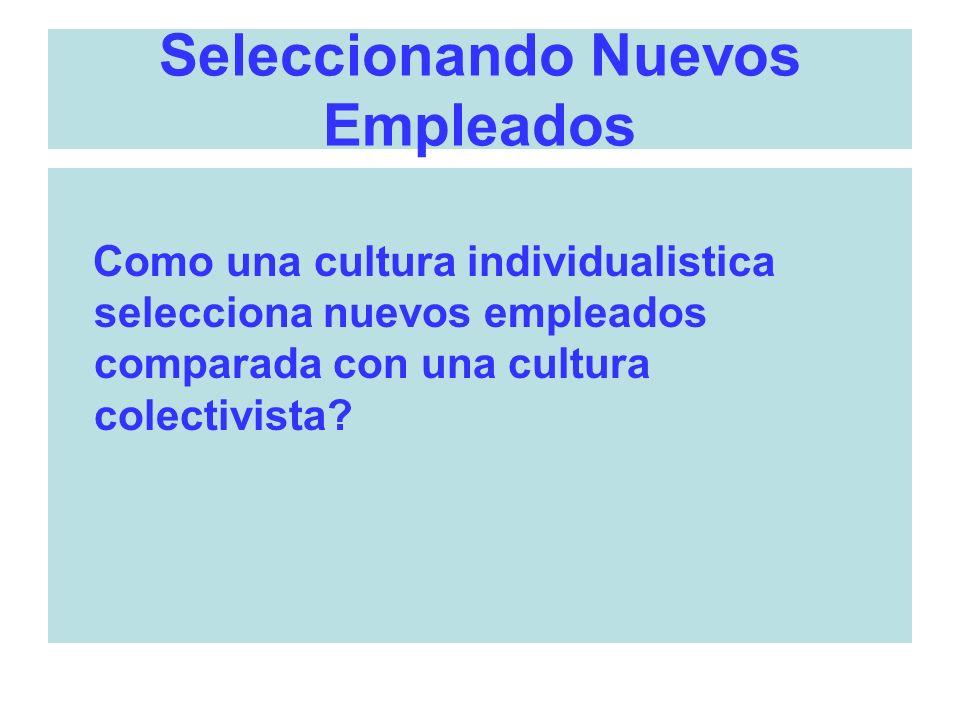 Seleccionando Nuevos Empleados Como una cultura individualistica selecciona nuevos empleados comparada con una cultura colectivista?