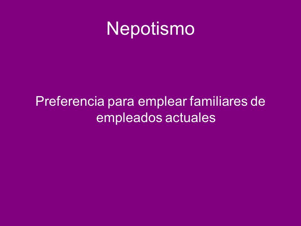 Nepotismo Preferencia para emplear familiares de empleados actuales