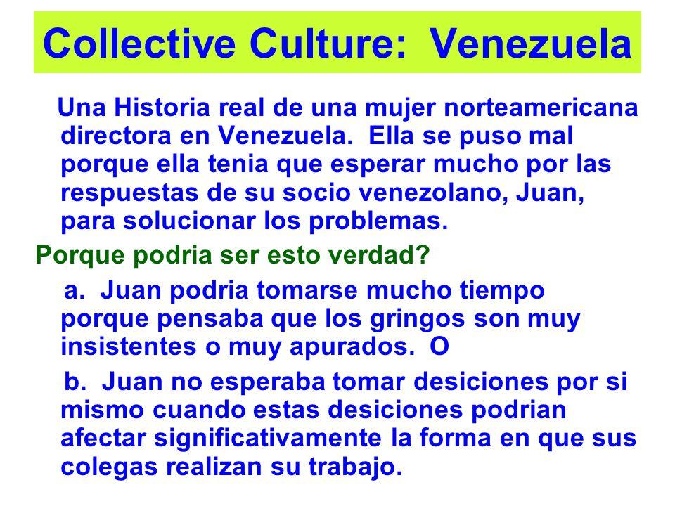 Collective Culture: Venezuela Una Historia real de una mujer norteamericana directora en Venezuela. Ella se puso mal porque ella tenia que esperar muc