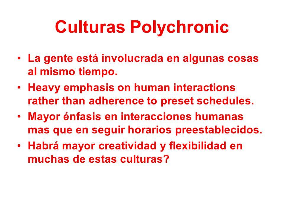 Culturas Polychronic La gente está involucrada en algunas cosas al mismo tiempo. Heavy emphasis on human interactions rather than adherence to preset