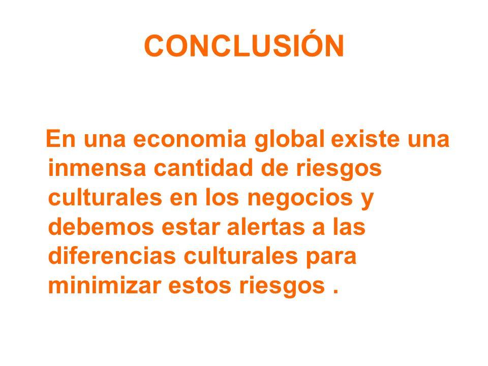 CONCLUSIÓN En una economia global existe una inmensa cantidad de riesgos culturales en los negocios y debemos estar alertas a las diferencias cultural