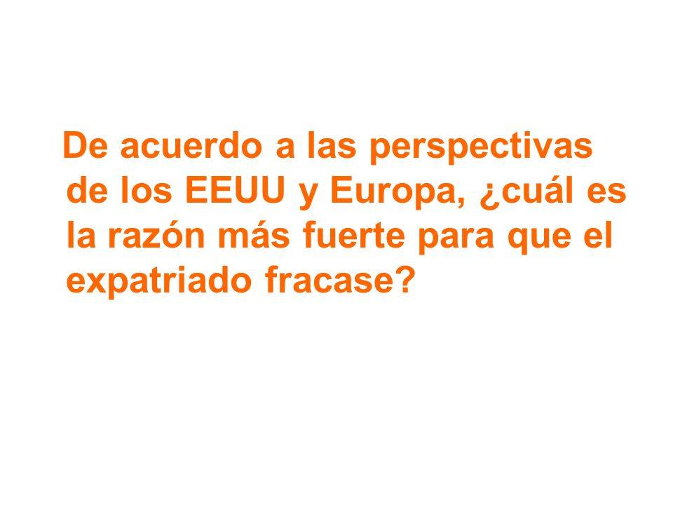 De acuerdo a las perspectivas de los EEUU y Europa, ¿cuál es la razón más fuerte para que el expatriado fracase?
