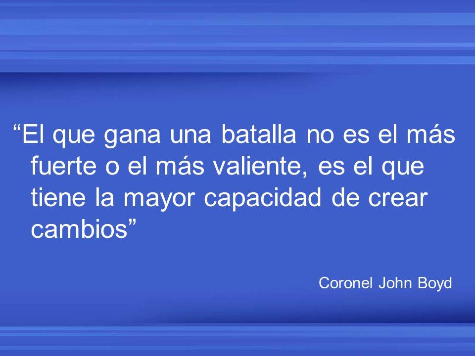 El que gana una batalla no es el más fuerte o el más valiente, es el que tiene la mayor capacidad de crear cambios Coronel John Boyd