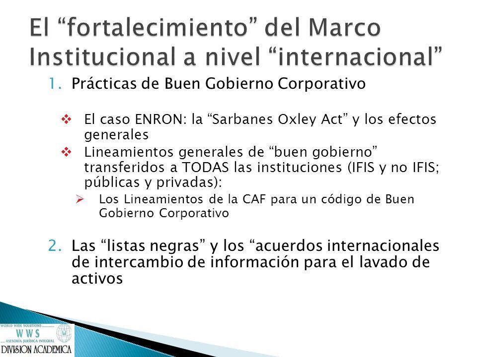1.Prácticas de Buen Gobierno Corporativo El caso ENRON: la Sarbanes Oxley Act y los efectos generales Lineamientos generales de buen gobierno transfer