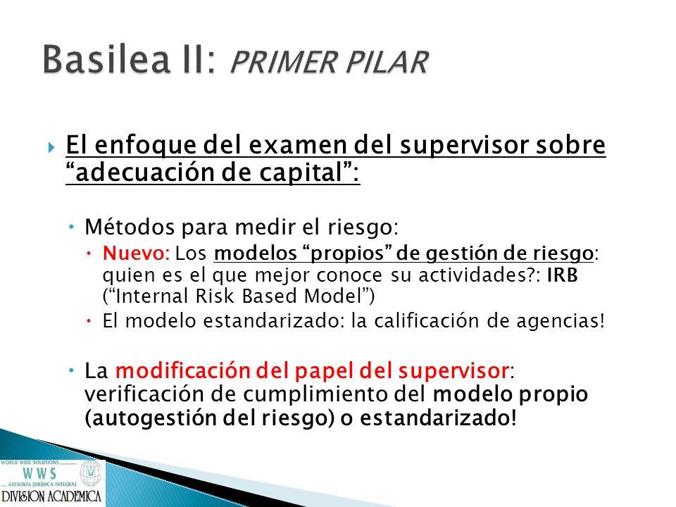 El enfoque del examen del supervisor sobre adecuación de capital: Métodos para medir el riesgo: Nuevo: Los modelos propios de gestión de riesgo: quien