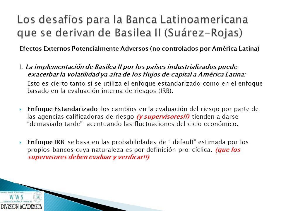 Efectos Externos Potencialmente Adversos (no controlados por América Latina) I. La implementación de Basilea II por los países industrializados puede