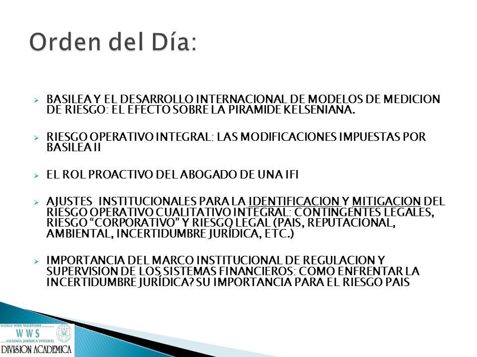 BASILEA Y EL DESARROLLO INTERNACIONAL DE MODELOS DE MEDICION DE RIESGO: EL EFECTO SOBRE LA PIRAMIDE KELSENIANA. RIESGO OPERATIVO INTEGRAL: LAS MODIFIC