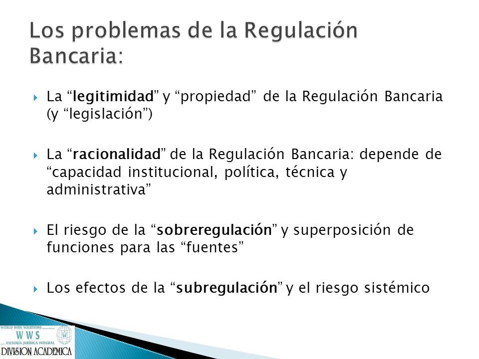 La legitimidad y propiedad de la Regulación Bancaria (y legislación) La racionalidad de la Regulación Bancaria: depende de capacidad institucional, po