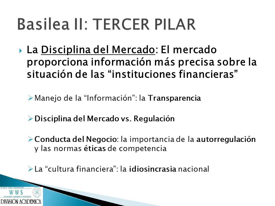 La Disciplina del Mercado: El mercado proporciona información más precisa sobre la situación de las instituciones financieras Manejo de la Información