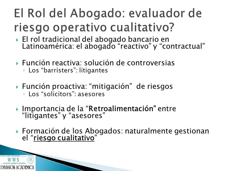 El rol tradicional del abogado bancario en Latinoamérica: el abogado reactivo y contractual Función reactiva: solución de controversias Los barristers