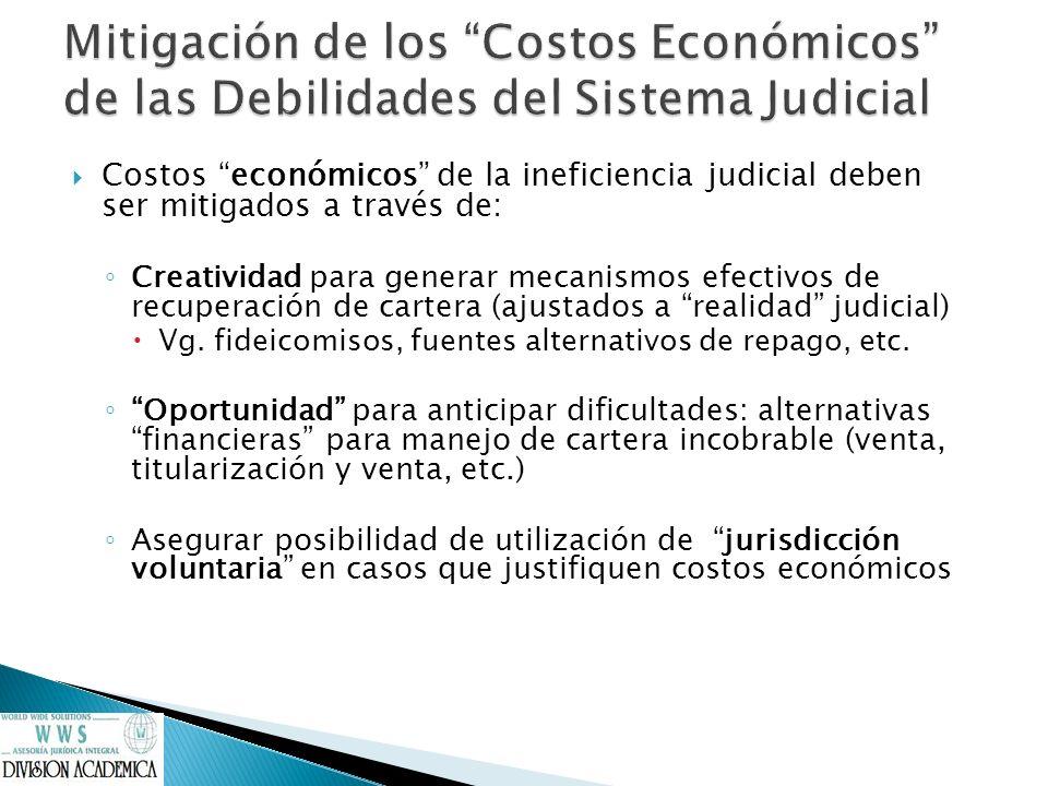 Costos económicos de la ineficiencia judicial deben ser mitigados a través de: Creatividad para generar mecanismos efectivos de recuperación de carter