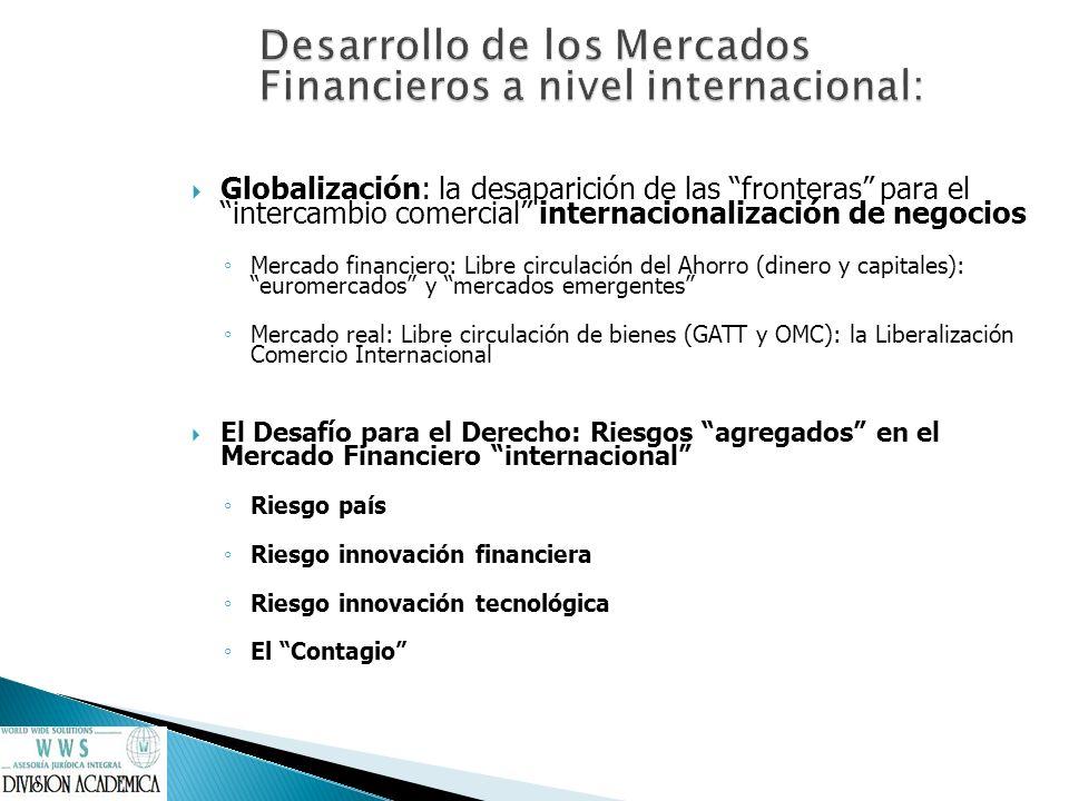 Globalización: la desaparición de las fronteras para el intercambio comercial internacionalización de negocios Mercado financiero: Libre circulación d