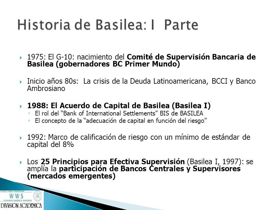 1990s: El Efecto Tequila y el contagio a otros países latinoamericanos; La crisis Rusia y del Sudeste Asiático y el efecto contagio 1999: La Segunda Generación de la Reforma Económica: concentrada en el marco institucional (sistemas políticos, legales, institucionales y judiciales) Revisión del Acuerdo de Capital: se inician las conversaciones sobre Basilea II El problema de la aversión al riesgo Los modelos de autogestión del riesgo Junio 2004: el Acuerdo de Capital revisado (Basilea II) basado en tres pilares: 1.Requerimientos mínimos de capital refinados, en función a modelo propios de gestión de riesgo 2.El examen supervisor: necesidades de fortalecimiento del marco institucional del regulador/supervisor y del regulado 3.Disciplina de Mercado, a través de extensa transparentación de información para complementar supervisión