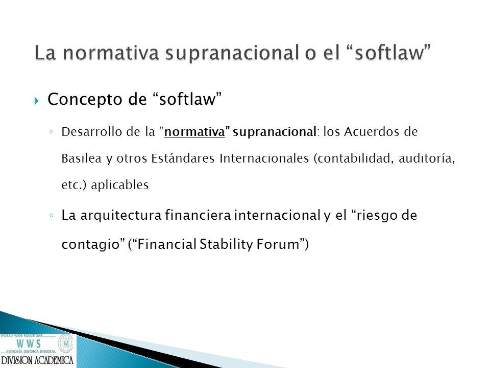Concepto de softlaw Desarrollo de la normativa supranacional: los Acuerdos de Basilea y otros Estándares Internacionales (contabilidad, auditoría, etc