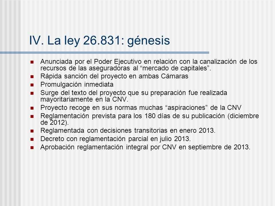 IV. La ley 26.831: génesis Anunciada por el Poder Ejecutivo en relación con la canalización de los recursos de las aseguradoras al mercado de capitale
