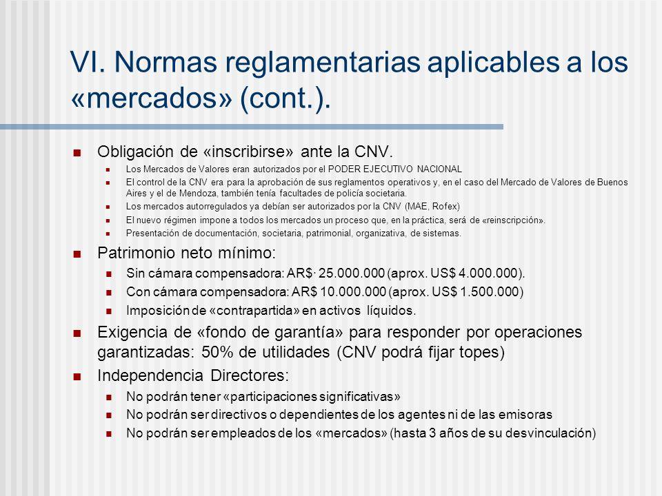 VI.Normas reglamentarias aplicables a los «mercados» (cont.).