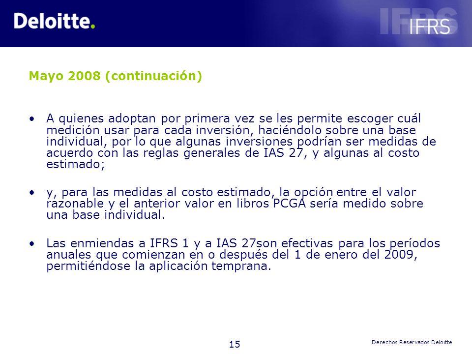 15 Derechos Reservados Deloitte Mayo 2008 (continuación) A quienes adoptan por primera vez se les permite escoger cuál medición usar para cada inversi