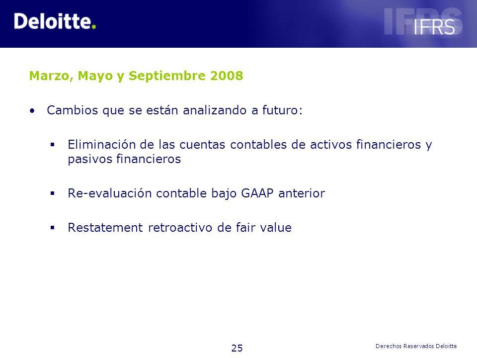 25 Derechos Reservados Deloitte Marzo, Mayo y Septiembre 2008 Cambios que se están analizando a futuro: Eliminación de las cuentas contables de activo