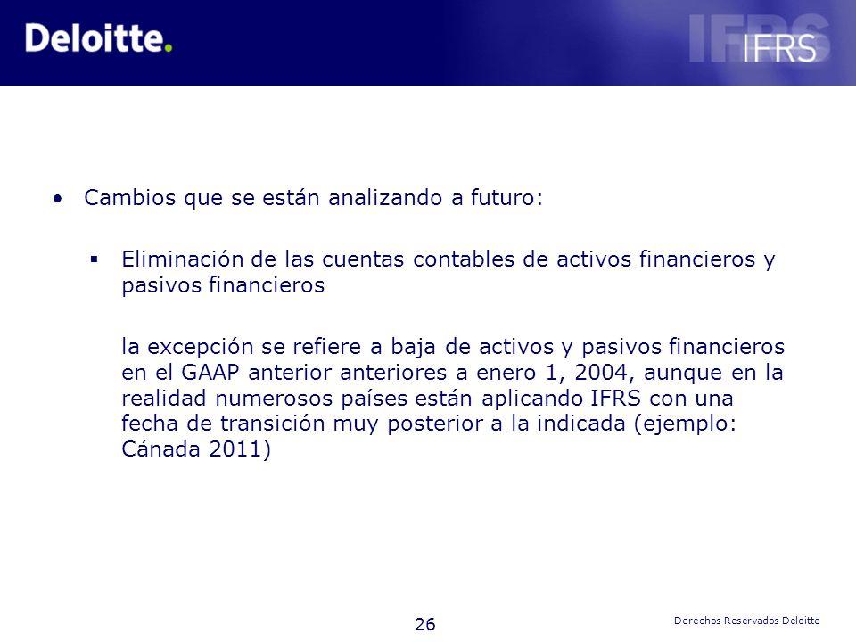 26 Derechos Reservados Deloitte Cambios que se están analizando a futuro: Eliminación de las cuentas contables de activos financieros y pasivos financ