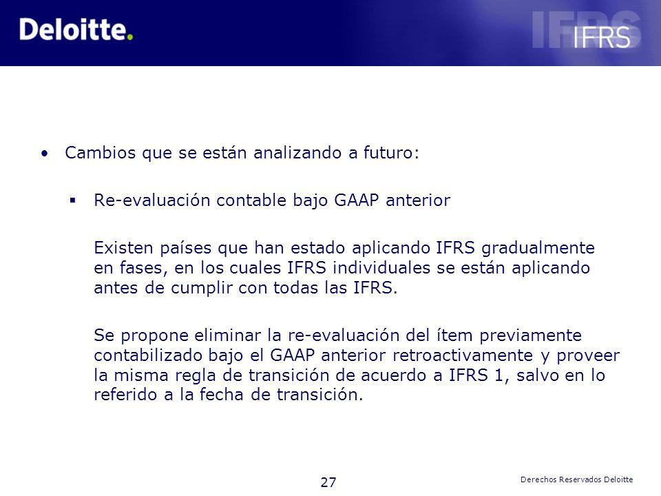 27 Derechos Reservados Deloitte Cambios que se están analizando a futuro: Re-evaluación contable bajo GAAP anterior Existen países que han estado apli