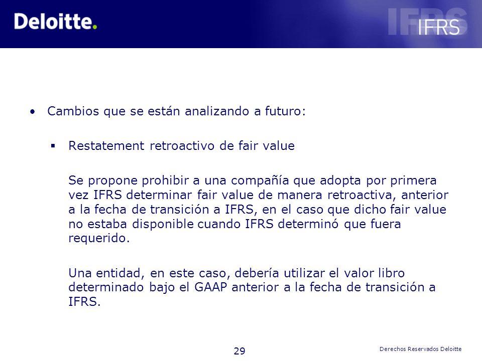 29 Derechos Reservados Deloitte Cambios que se están analizando a futuro: Restatement retroactivo de fair value Se propone prohibir a una compañía que