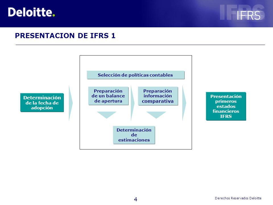 4 Derechos Reservados Deloitte Determinación de la fecha de adopción Preparación de un balance de apertura Preparación información comparativa Present
