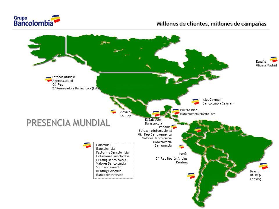 Millones de clientes, millones de campañas Estados Unidos: Agencia Miami Of. Rep 27 Remesadora Banagrícola (Este) México: Of. Rep El Salvador: Banagrí