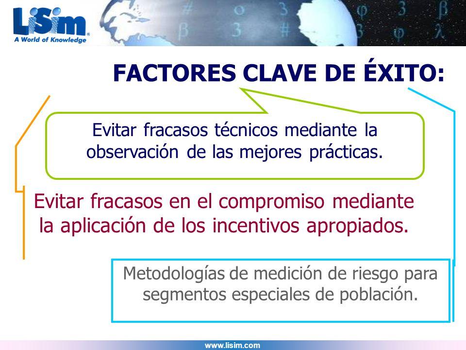www.lisim.com FACTORES CLAVE DE ÉXITO: Metodologías de medición de riesgo para segmentos especiales de población. Evitar fracasos en el compromiso med