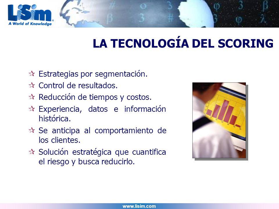 www.lisim.com Estrategias por segmentación. Control de resultados. Reducción de tiempos y costos. Experiencia, datos e información histórica. Se antic