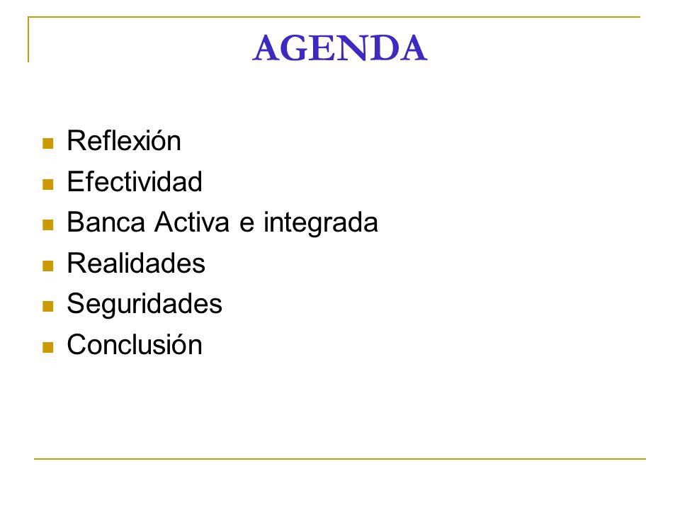 AGENDA Reflexión Efectividad Banca Activa e integrada Realidades Seguridades Conclusión