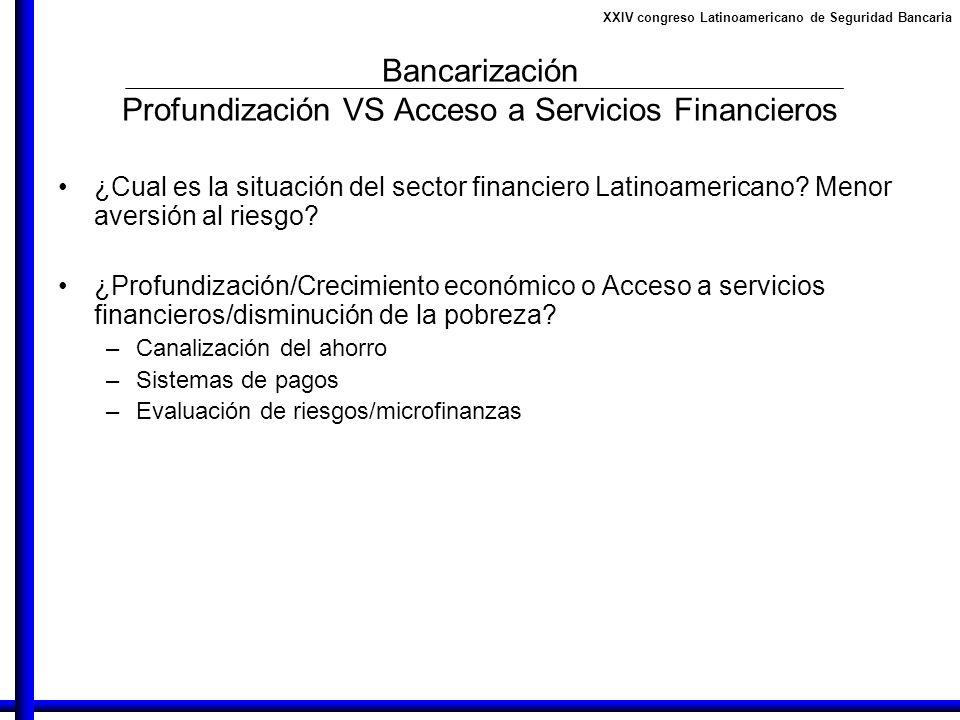 XXIV congreso Latinoamericano de Seguridad Bancaria Bancarización Profundización VS Acceso a Servicios Financieros ¿Cual es la situación del sector fi
