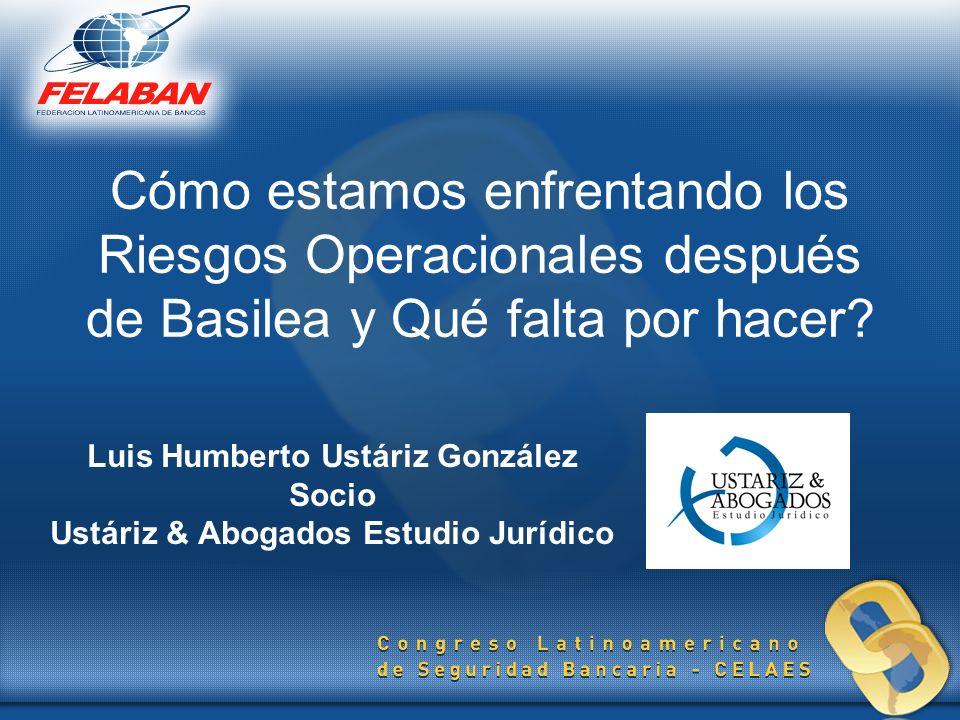 Cómo estamos enfrentando los Riesgos Operacionales después de Basilea y Qué falta por hacer? Luis Humberto Ustáriz González Socio Ustáriz & Abogados E