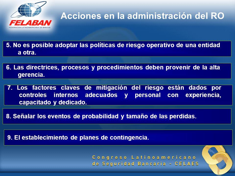 5. No es posible adoptar las políticas de riesgo operativo de una entidad a otra. 6. Las directrices, procesos y procedimientos deben provenir de la a