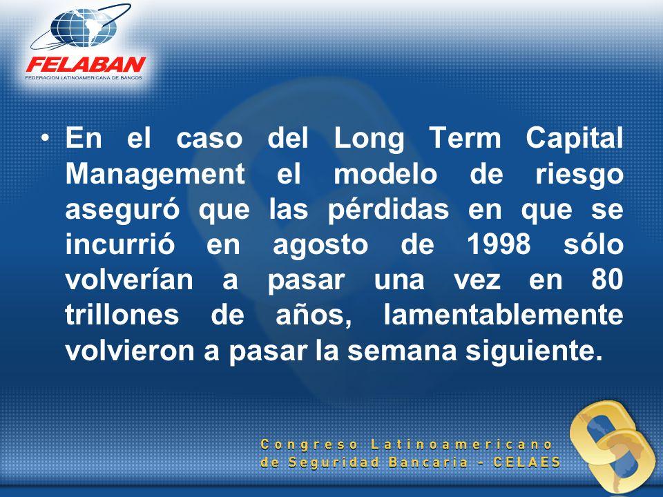 En el caso del Long Term Capital Management el modelo de riesgo aseguró que las pérdidas en que se incurrió en agosto de 1998 sólo volverían a pasar u