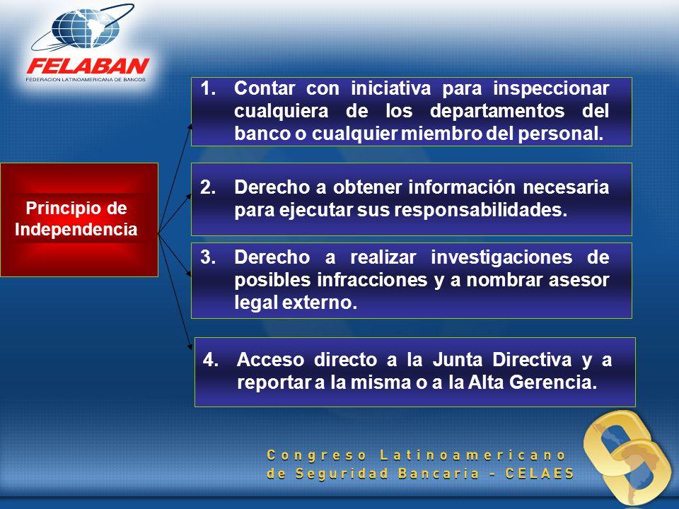 Principio de Independencia 1.Contar con iniciativa para inspeccionar cualquiera de los departamentos del banco o cualquier miembro del personal. 2. De