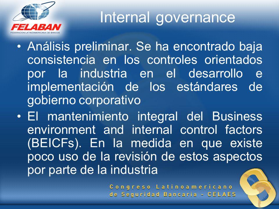 Internal governance Análisis preliminar. Se ha encontrado baja consistencia en los controles orientados por la industria en el desarrollo e implementa