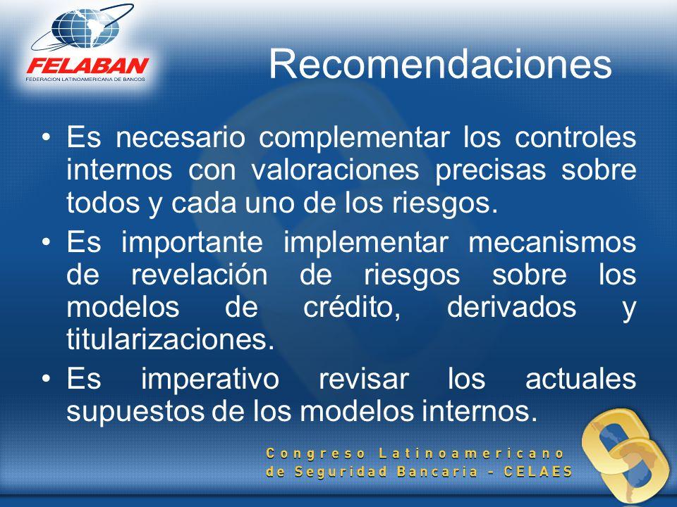 Recomendaciones Es necesario complementar los controles internos con valoraciones precisas sobre todos y cada uno de los riesgos. Es importante implem