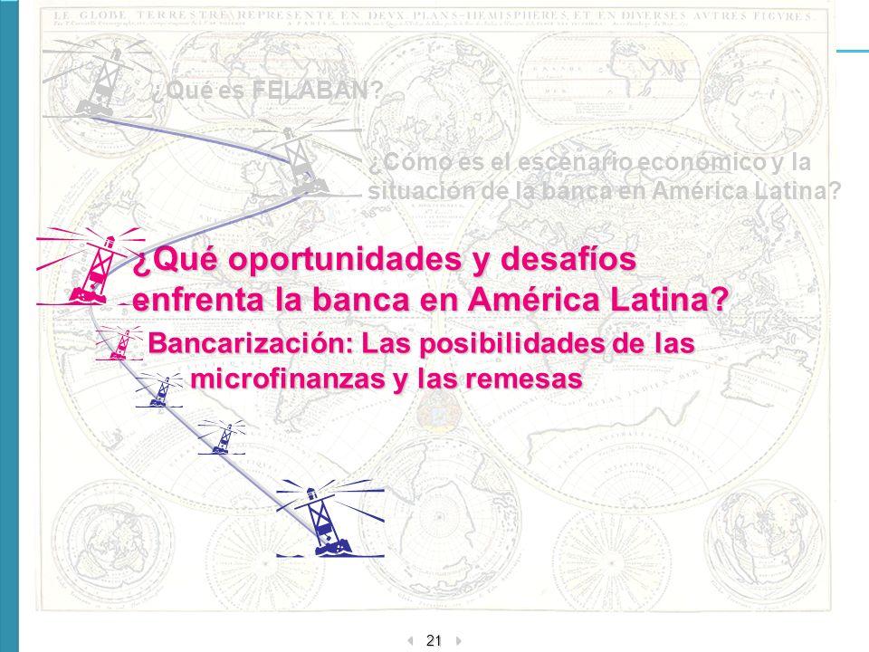 21 ¿Cómo es el escenario económico y la situación de la banca en América Latina? ¿Qué oportunidades y desafíos enfrenta la banca en América Latina? ¿Q