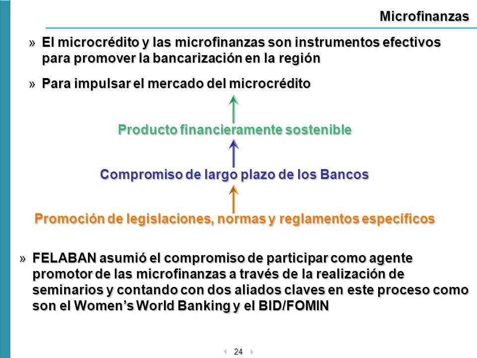 24 Microfinanzas »El microcrédito y las microfinanzas son instrumentos efectivos para promover la bancarización en la región »Para impulsar el mercado