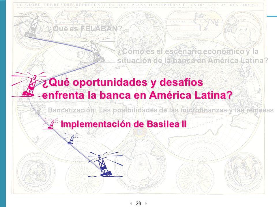 28 ¿Qué oportunidades y desafíos enfrenta la banca en América Latina? ¿Cómo es el escenario económico y la situación de la banca en América Latina? ¿Q