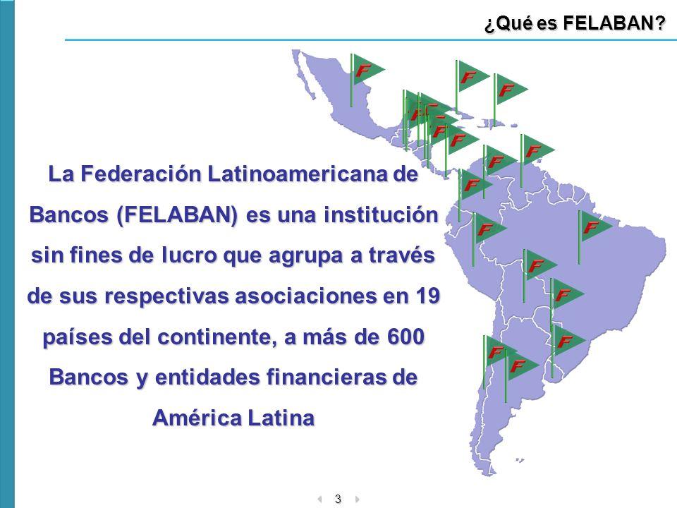 3 ¿Qué es FELABAN? La Federación Latinoamericana de Bancos (FELABAN) es una institución sin fines de lucro que agrupa a través de sus respectivas asoc