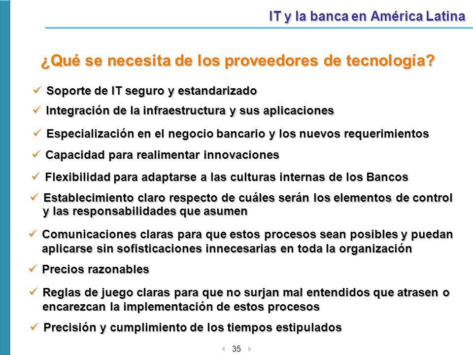 35 IT y la banca en América Latina Precios razonables Precios razonables ¿Qué se necesita de los proveedores de tecnología? Precisión y cumplimiento d