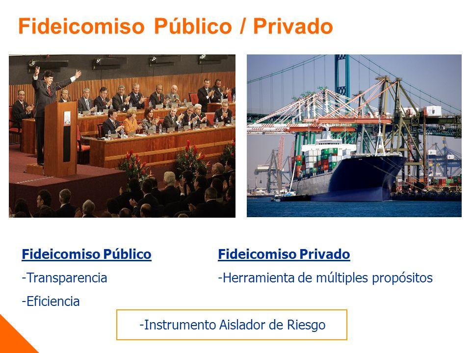 Fideicomiso PúblicoFideicomiso Privado -Transparencia -Herramienta de múltiples propósitos -Eficiencia -Instrumento Aislador de Riesgo Fideicomiso Público / Privado
