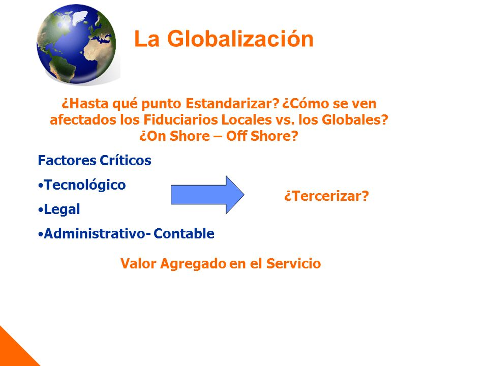 La Globalización ¿Hasta qué punto Estandarizar.¿Cómo se ven afectados los Fiduciarios Locales vs.