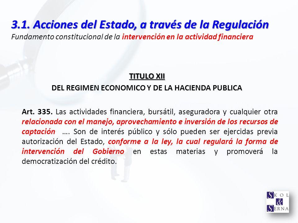 3.1. Acciones del Estado, a través de la Regulación 3.1. Acciones del Estado, a través de la Regulación Fundamento constitucional de la intervención e